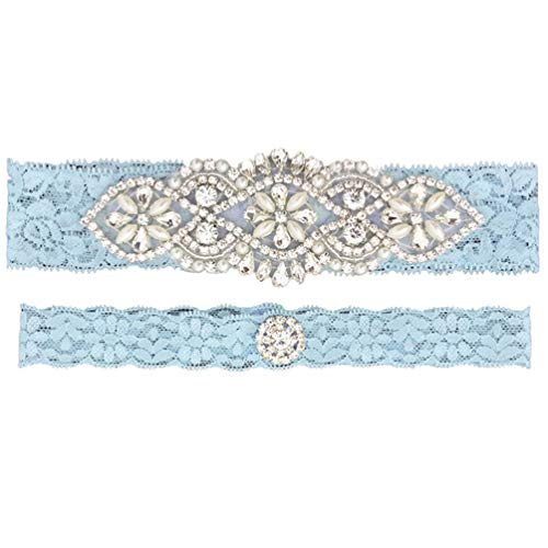 Womens Off White Lace Wedding Garter Set of 2 for Brides Lace Garters for Prom]()