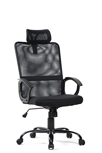 BONUM Mesh Task Chair Armrests Office Chair High-back Ergonomic Design Home Desk Chair,Adjustable Computer Pc Chair including Headrest Support and Padded Seat Black