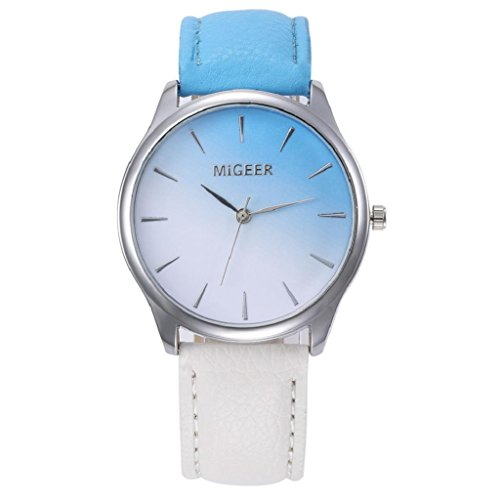 Women's Casual Watches,Hosamtel Lady Colorful Leather Band Analog Alloy Quartz Wristwtch A70 (Blue) ()