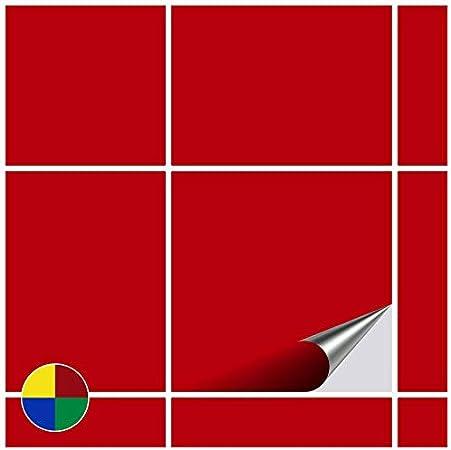 Foliesen Stickers Carrelage 15x15 Cm Rouge Mat 20 Pieces Amazon