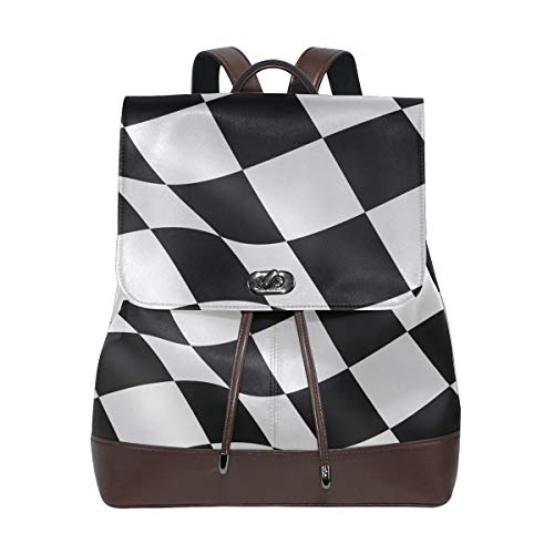 PU Leather School Backpack Black White Checkered Flag drawstring for Travel Rucksack Daypack Casual Duffel Shoulder Bag ()