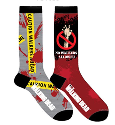 [Walking Dead Zombie Men's Crew Cut Socks 2 Pair - Caution Tape / No Walkers] (Walking Zombie)