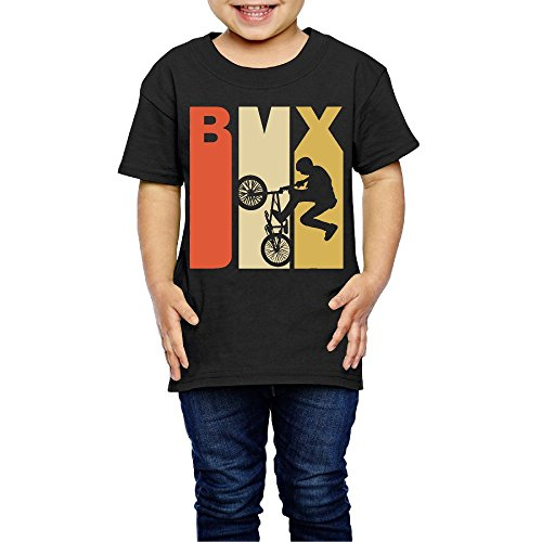 Retro 1970 Jersey (Retro 1970's Style BMX Silhouette Costume Toddler/Infant O-Neck Short Sleeve Shirt Tee Jersey for 2-6 Toddlers)