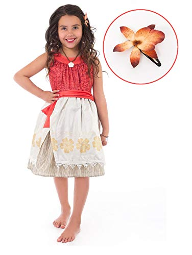 Little Adventures Polynesian Princess with Hair Clip Dress Up Costume Size XL Age 7-9 -