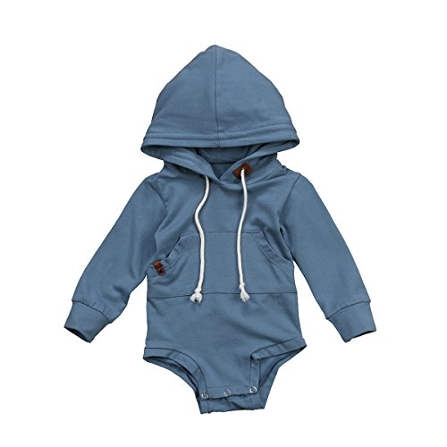 FOCUSNORM Newborn Baby Boys Clothes with Pockets Hooded Long Sleeves Romper Bodysuit Top Straps Outfits for 0-24 M (Tag 80/6-12 Months, Blue Romper)