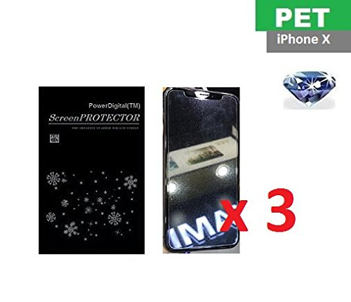 PowerDigital(TM) Diamond Sparkling Glitter Screen Protector for iPhone Xs/iPhone X 10 2017 with Lint Cleaning Cloth (Retail Packaging, PET Material) - 3 Pack
