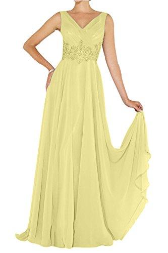 Brautmutterkleider Abendkleider Abschlussballkleider Chiffon Promkleider Spitze Applikation mit Elegant Gelb La mia Brau Lang nxWwtXg