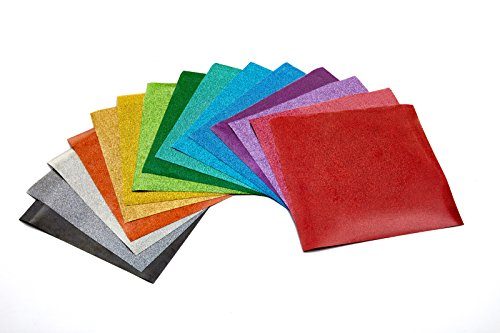 Glitter Heat Transfer Vinyl (HTV) - 15x Glitter Vinyl Sheets 10' x 10' - Assorted Color Bundles - Iron On or Heat Press - For Fabric, Apparel and Monogrammed Gifts by Absolute Art
