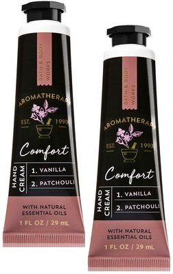 Bath and Body Works 2 Pack Aromatherapy Comfort Vanilla Patchouli Hand Cream. 1 oz