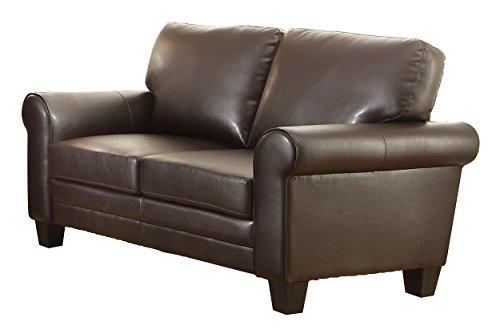 Homelegance 8579DB-2 Upholstered Loveseat, Dark Brown Bonded Leather (Dark Brown Leather Loveseat)