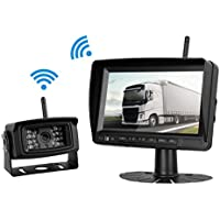 Digital Wireless Backup Camera System Kit For RV/Truck/Trailer/Camper/Bus/Boat Over 300 ft Distance No Interference Signals IP69K Waterproof Rear View Camera With On/Off Guide Lines + 7 LCD Wireless