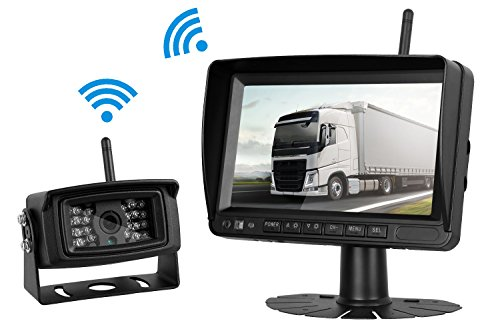 ZSMJ Digital Wireless Built-in Backup Camera and 7 Display Monitor System kit over 200ft Distance No Interference Stable signal Wireless Reverse Camera For Bus/Truck/Trailer/Motorhome/Boat Etc
