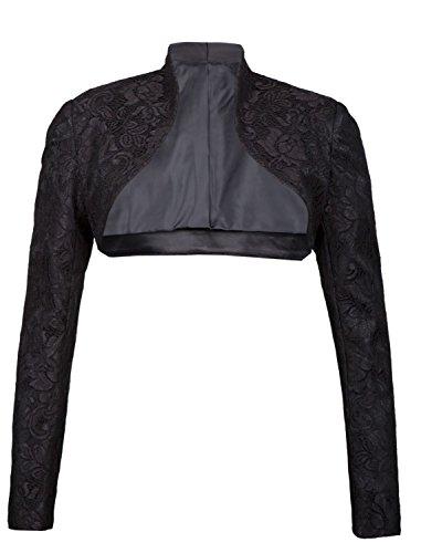 Giovani & Exclusivo ricchi Designer elegante manga larga satén Bolero Chaqueta Mujer en varios colores negro