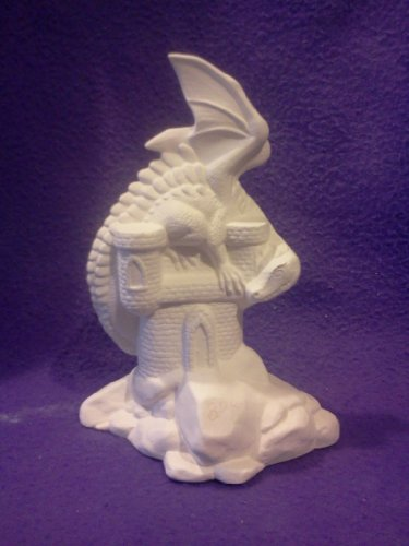 "Dragon on Castle 8"" Ceramic Bisque, Ready To Paint"
