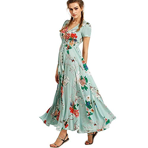 vert L QLJ02 Robe d'été pour Femme bohème élégante Longue Robe de Plage Longue Robe Noire midi Vert Floral FFaibley Prairie Maxi Ladies Robe
