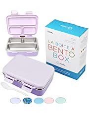 Stainless Steel Bento Insulated Lunch Box for Kids Toddler Girls, 3 Eco Metal Portion Sections Leakproof Lid, Pre-School Kid Daycare Lunches and Snack Container Ages 3 to 7 Purple