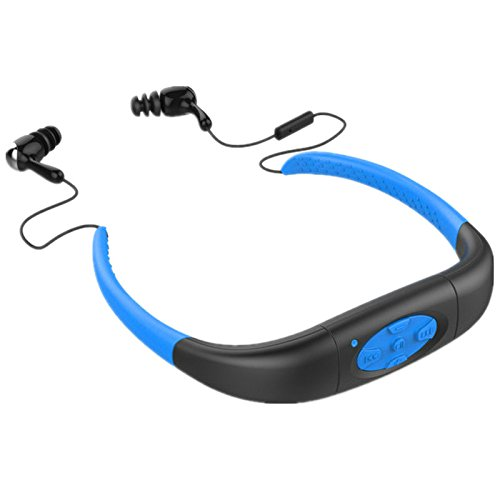 Efanr Head Mounted IPX8 Waterproof Bluetooth Headset, Neckband Hi-fi Stero Earphone Headphone With Microphone for Swimming, Surfing, Diving, Underwater Sport (Black & Blue)