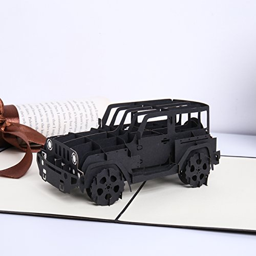 Liif Trendy Jeep Pop Up Card, 3D Greeting Pop Up Card for All Occasions, Birthday, Father's Day, Graduation, Congratulations, Get Well, New Business, Retirement, Just Because, Perfect Jeep Gift ()