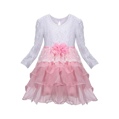 Bollywood Fancy Dress Outfits (Suzzo Costume Series New Little Girl Long Sleeve Cotton Lace Princess Flowe Dresses 2-8 Years Spring Autumn Outfits Kids Toddler Clothes Costume Tutu)