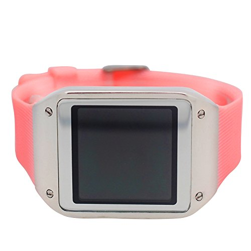 Techno Pave Digital Touch Screen Gear Square Face Silver PlatedBezel with Pink Rubber Band Watch