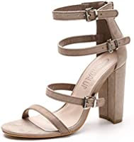 SANDALUP Adjustable Buckle Ankle Straps Chunky Heels for Women