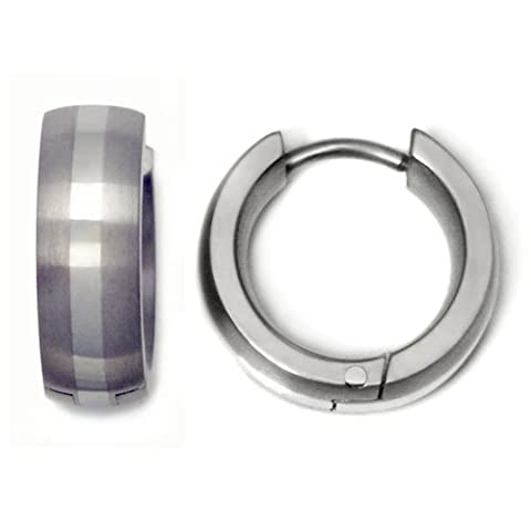 Titanium 14K White Gold Inlay Huggie Hoop