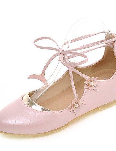 PDX/ Damenschuhe-Ballerinas-Kleid / Lässig-Kunstleder-Flacher Absatz-Rundeschuh-Rosa / Weiß white-us6.5-7 / eu37 / uk4.5-5 / cn37