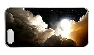 Hipster free shipping iphone 5S cases space night clouds moon PC Transparent for Apple iPhone 5/5S by icecream design