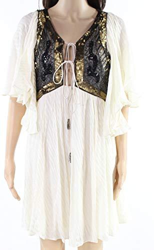 Free People Beige Womens Medium Sequined Embellished Shift Dress White Ivory M