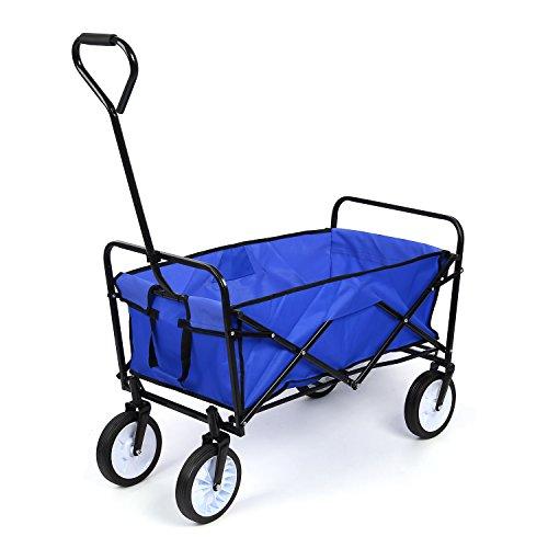 HOMFA Transportkarre faltbar Bollerwagen Gerätewagen Handwagen bis 80 Kg 360° drehbar (Blue)