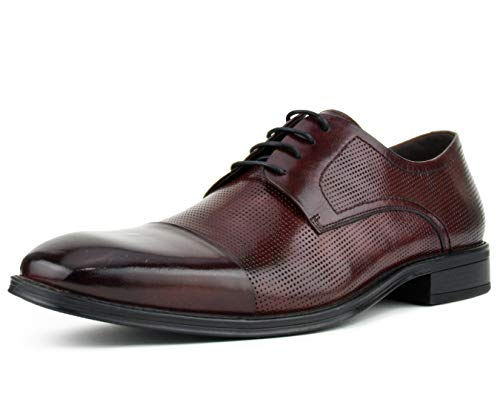- Asher Green Men's Genuine Leather Oxford Lace Up with Perforations and Smooth Cap Toe Dress Shoe, Style AG135 Burgundy