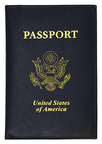 - United States Passport Holder Golden Print Emblem Genuine Leather (Blue)