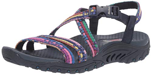 Strappy Slingback Sandals - Skechers Women's Reggae-SEW ME-Boho Woven Strappy Slingback Sandal Navy Multi 11 M US