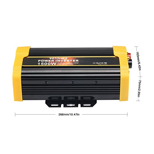 Vetomile 1500W Power Inverter DC 12V to AC 110V Car Inverter with 2.1A Dual USB Car Adapter by Vetomile (Image #1)