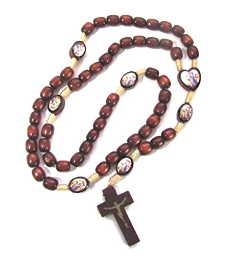 Guardian Angel Rosary Brazilian Cherry Wood Beads Color Images (Centerpieces Wood Michaels)
