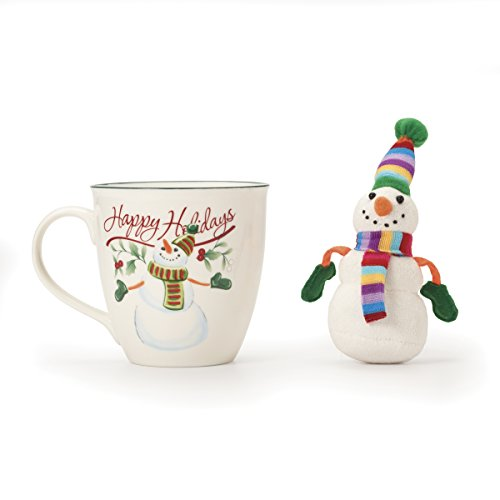 Pfaltzgraff Winterberry Mug Porcelain with Stuffed Snowman Ornament, 20 oz, Assorted (Stuffed Snowman Ornaments)