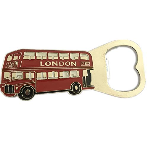 London England Bottle Opener Beer 3D Fridge Magnet Metal Strong Souvenir Tourist Gift Chinese Magnet Hand Made Craft Home and Kitchen Decoration Letter Refrigerator Magnetic Sticker (London Bus)