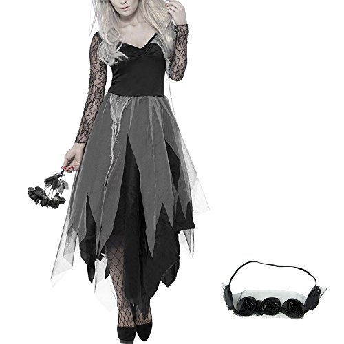 Zombie Costume Graveyard Bride Costume Halloween Dress Vampire Costume Living Dead Dress For Women Girls (Bride Halloween Costume)