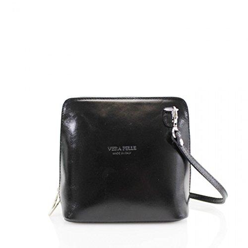 bolso Abz de piel auténtica Negro VP011 Mujer bandolera PBvB7xCnq