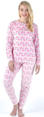Frankie & Johnny Women's Sleepwear Super Soft Fleece 2-Piece Pajamas PJ Set, Flamingos (FJ1139-1083-XL)