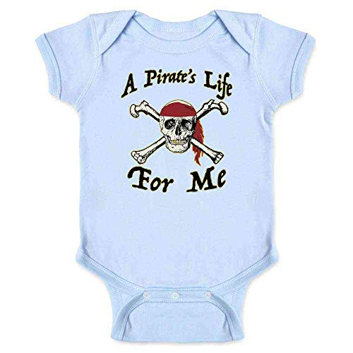 Pop Threads A Pirate's Life for Me Halloween Costume Skull Light Blue 6M Infant Bodysuit