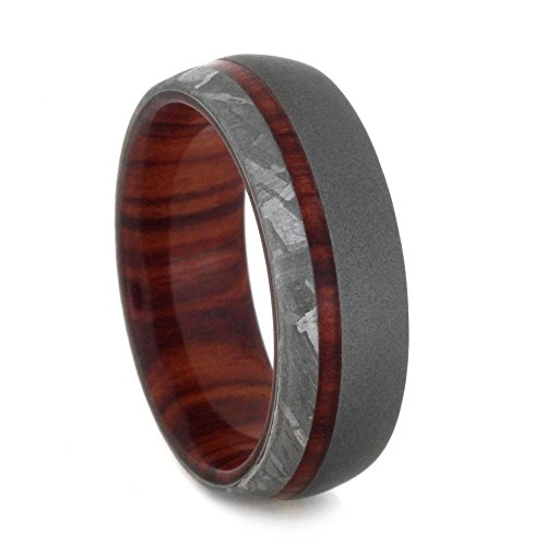 Gibeon Meteorite, Sandblast Titanium 7mm Comfort-Fit Tulip Wood Band, Size 10.25 by The Men's Jewelry Store (Unisex Jewelry)