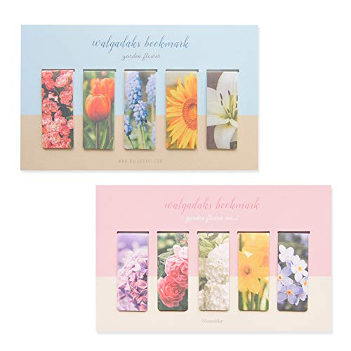 Monolike Magnetic Bookmarks Garden Flower, 10 Pieces (Flower Bookmarks Magnetic)