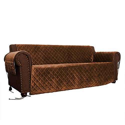 Pet Sofa Cover, Velvet Ultra Soft and Luxurious Fabric, Stay Put Design with Non-Slip Bottom, Tuck-in Tabs and Sofa Feet Ties, 3 Storage Pockets, Couch Covers for Kids and Pets (Sofa: Chocolate/Beige) by FURRY BUDDY