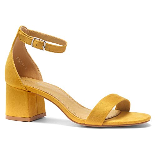 Dress Yellow Sandals (Herstyle Sunday Women's Open Toe Ankle Strap Block Chunky Low Heeled Sandal Comfortable Office Pump Shoes Mustard 7.0)