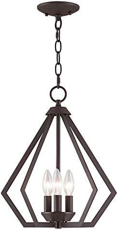Livex Lighting 40923-07 Prism 3 Light BZ Mini Chandelier Ceiling Mount, Bronze