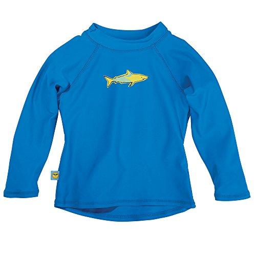 Sun Smarties Baby Boys UPF 50+ Long Sleeve Shark Rash Guard Sun Shirt 12M Blue (Babies Uv Protection)