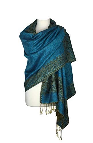 Paskmlna Border Pattern Double Layered Reversible Woven Pashmina Shawl Scarf Wrap Stole, 003#11turquoise, Large ()
