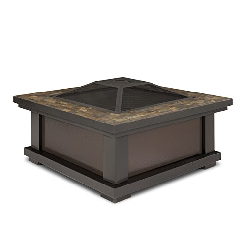 Slate Tile Outdoor Wood Burning Fire Pit | Enjoy a Bonfire in the Comfort of Your Backyard! Comes Complete with Spark Screen, Log Poker Tool and Vinyl Storage Cover by Real Flame (Image #3)