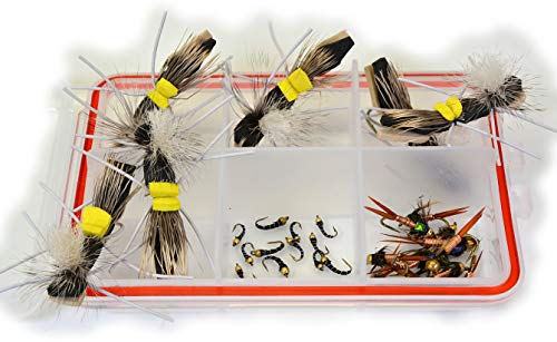 (Region Fishing Hopper Dropper Trout Fly Assortment - 30 Total Flies All Tied on Mustad Signature Fly Hooks - Foam Hopper, Copper John Nymphs, Black Bead Head Zebra Midge)